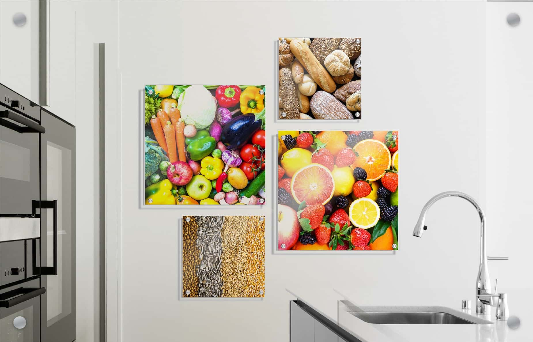 Sample image of Wallkeepers finished product. Four photos in a grid overlayed on to an interior wall.